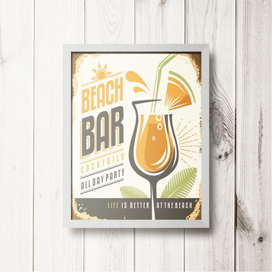 PLACA BEACH BAR COKTAILS 30cm x 40cm COM MOLDURA BRANCA
