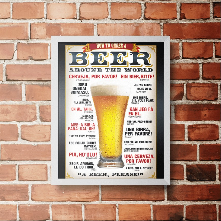 PLACA BEER AROUND THE WORLD 30cm x 40cm COM MOLDURA BRANCA