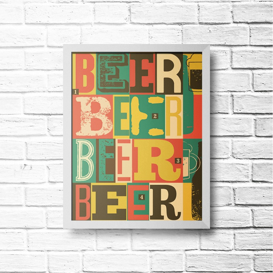 PLACA BEER COLORS 30cm x 40cm COM MOLDURA BRANCA