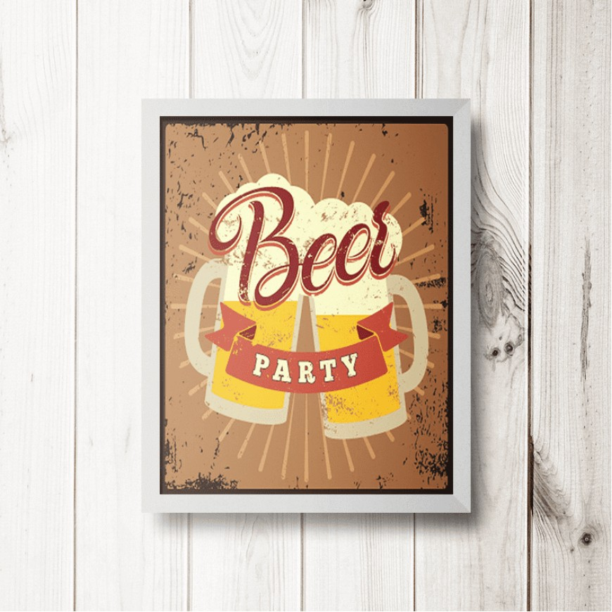 PLACA BEER PARTY 30cm x 40cm COM MOLDURA BRANCA