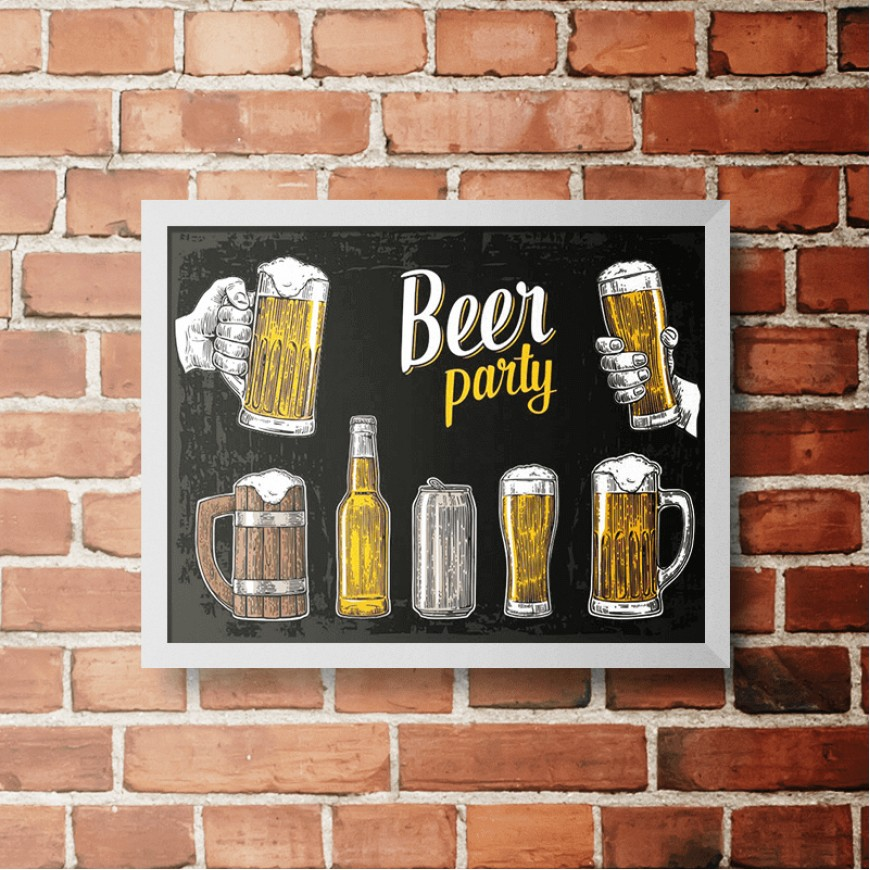 PLACA BEER PARTY BLACK 30cm x 40cm COM MOLDURA BRANCA