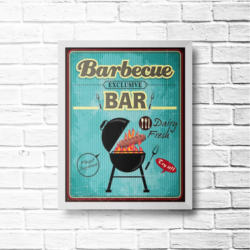 PLACA BARBECUE BAR 30cm x 40cm COM MOLDURA BRANCA