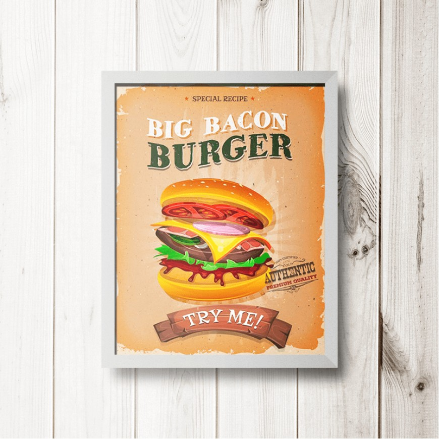 PLACA BIG BACON BURGER 30cm x 40cm COM MOLDURA BRANCA