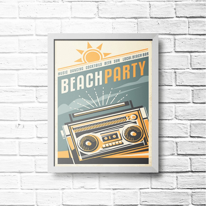 PLACA BEACH PARTY 30cm x 40cm COM MOLDURA BRANCA