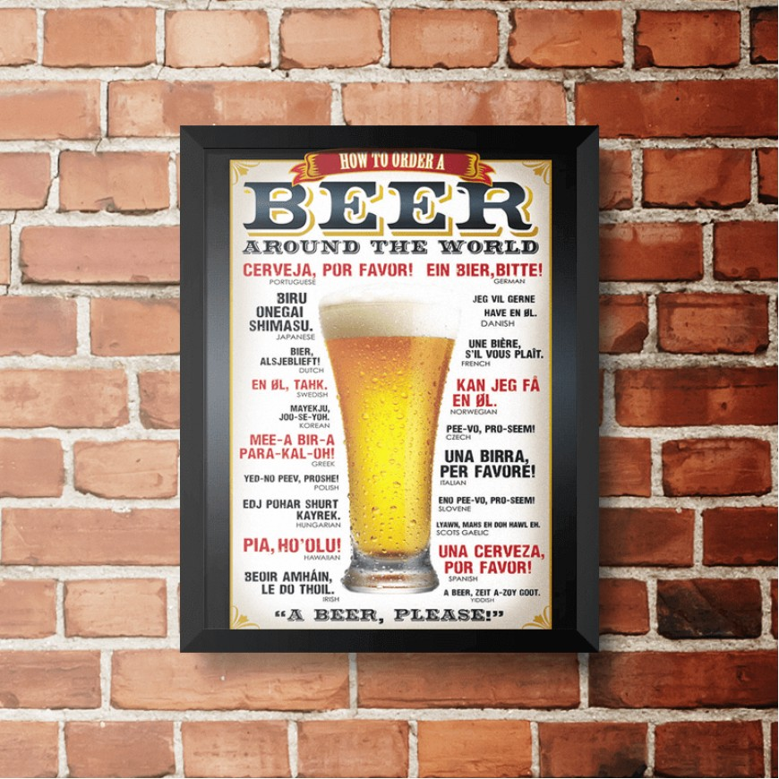 PLACA BEER AROUND THE WORLD 30cm x 40cm COM MOLDURA PRETA