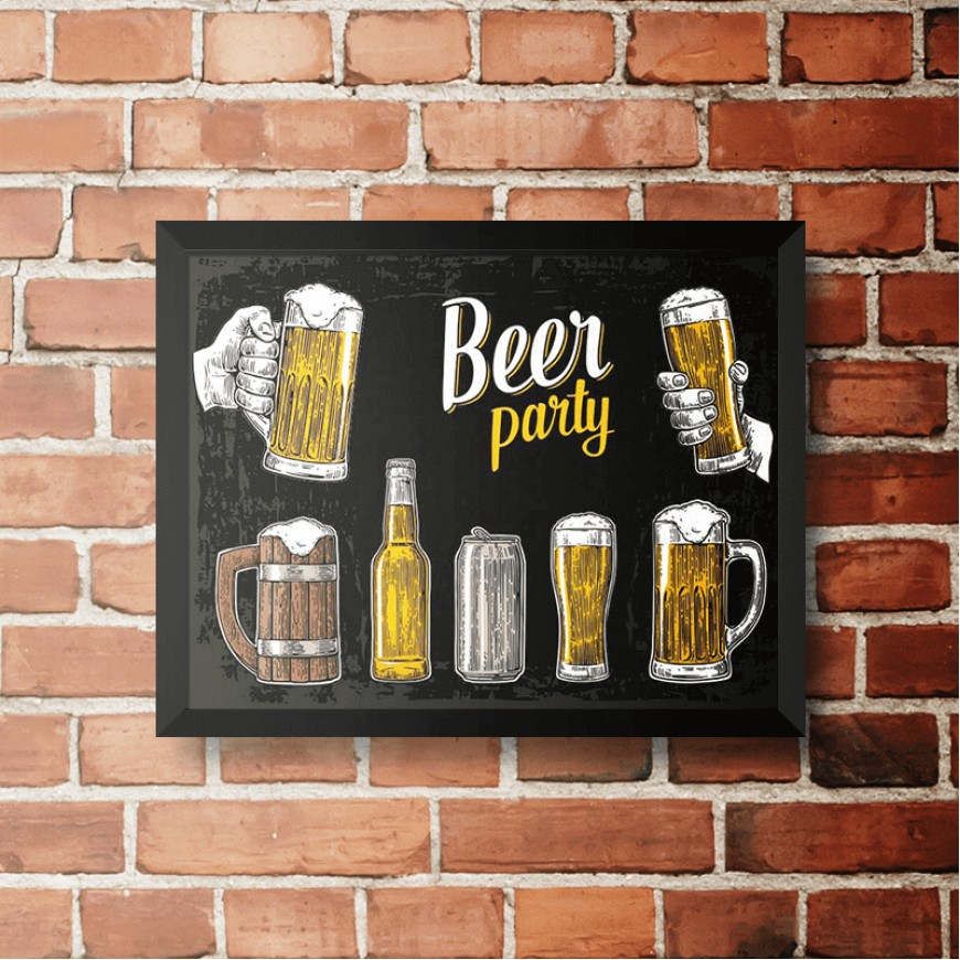 PLACA BEER PARTY BLACK 30cm x 40cm COM MOLDURA PRETA