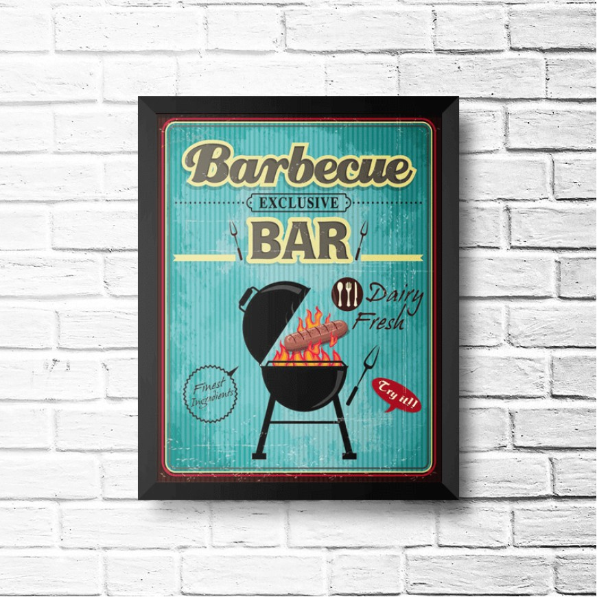 PLACA BARBECUE BAR 30cm x 40cm COM MOLDURA PRETA