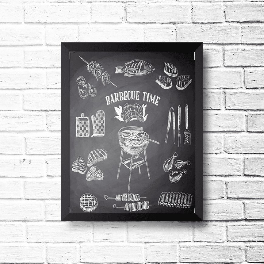 PLACA BARBECUE TIME BLACK 30cm x 40cm COM MOLDURA PRETA