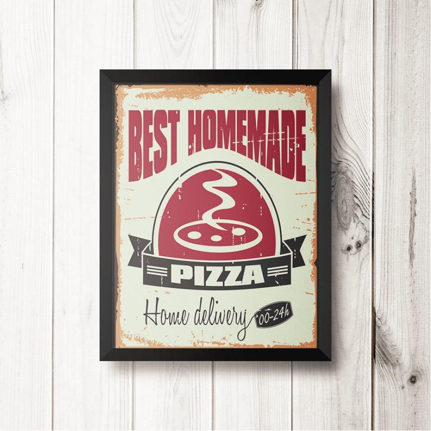 PLACA BEST PIZZA 30cm x 40cm COM MOLDURA PRETA