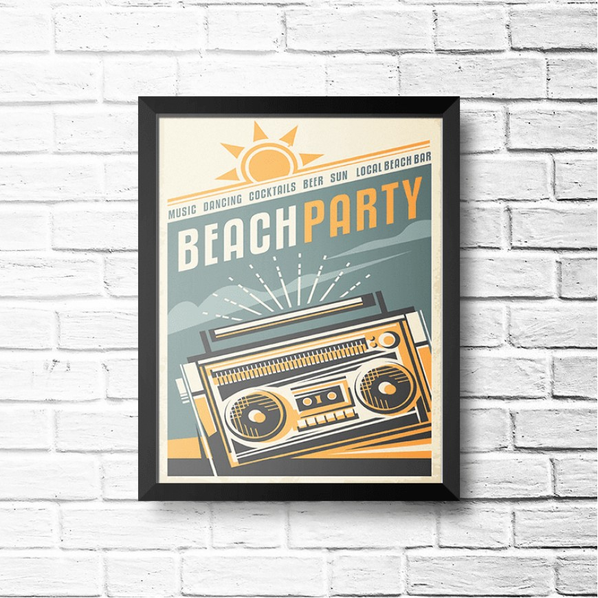 PLACA BEACH PARTY 30cm x 40cm COM MOLDURA PRETA