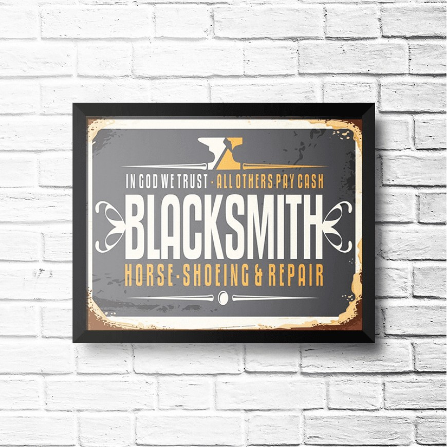PLACA BLACK SMITH SHOEING E REPAIR 30cm x 40cm COM MOLDURA PRETA