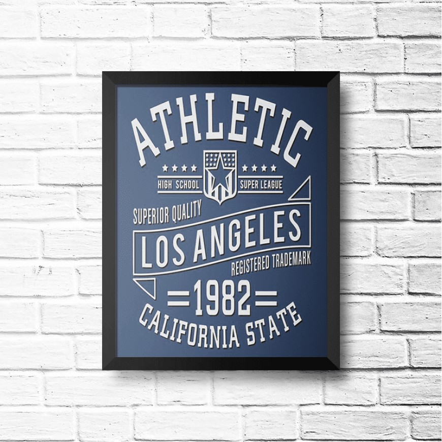 PLACA ATHLETIC LOS ANGELES 1982 30cm x 40cm COM MOLDURA PRETA