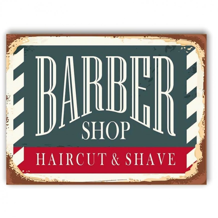 PLACA BABRBER SHOP HAIRCUT E SHAVE 30cm x 40cm