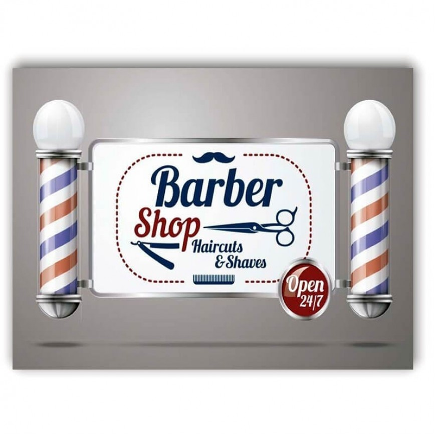 PLACA BARBER SHOP OPEN 30cm x 40cm