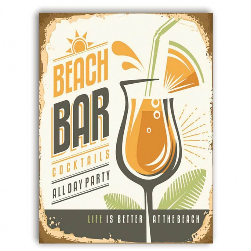 PLACA BEACH BAR COKTAILS 30cm x 40cm