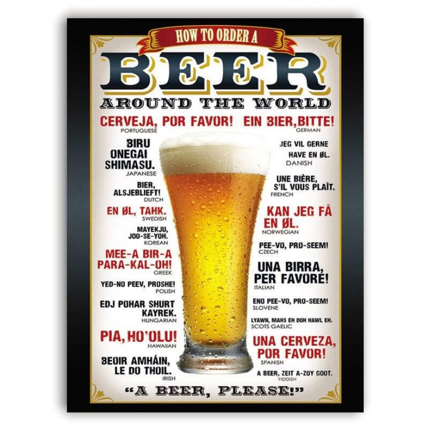 PLACA BEER AROUND THE WORLD 30cm x 40cm