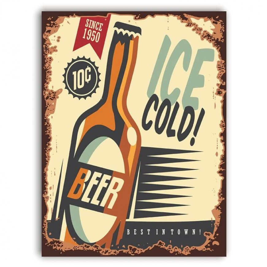 PLACA BEER ICE COLD SINCE 1950 30cm x 40cm