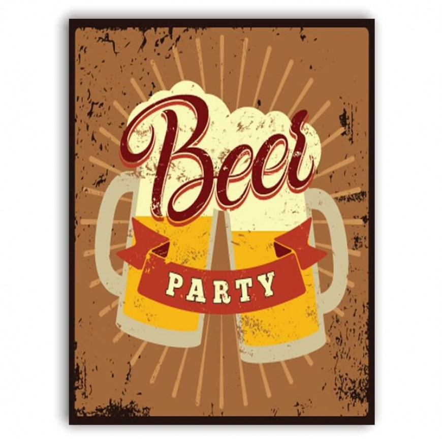 PLACA BEER PARTY 30cm x 40cm