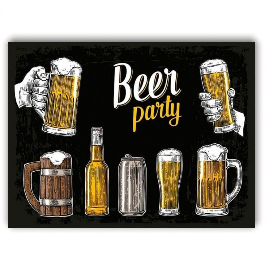PLACA BEER PARTY BLACK 30cm x 40cm