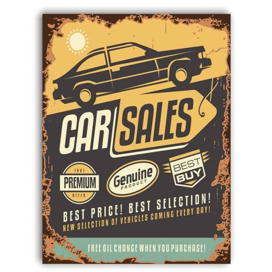 PLACA CAR SALES 1957 30cm x 40cm