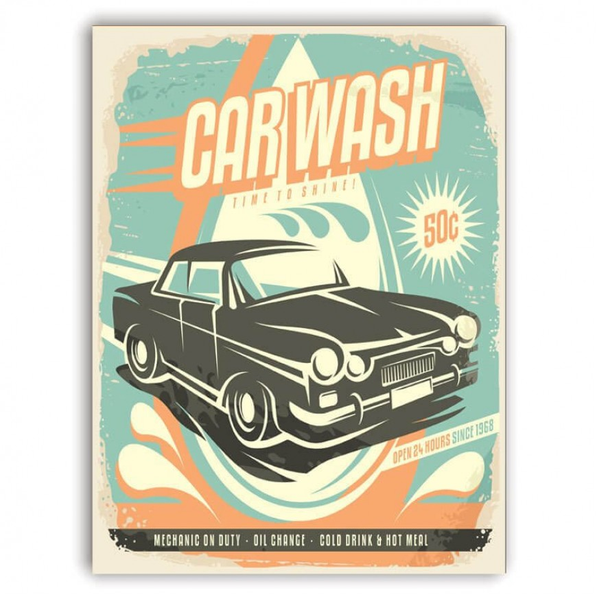 PLACA CAR WASH 30cm x 40cm