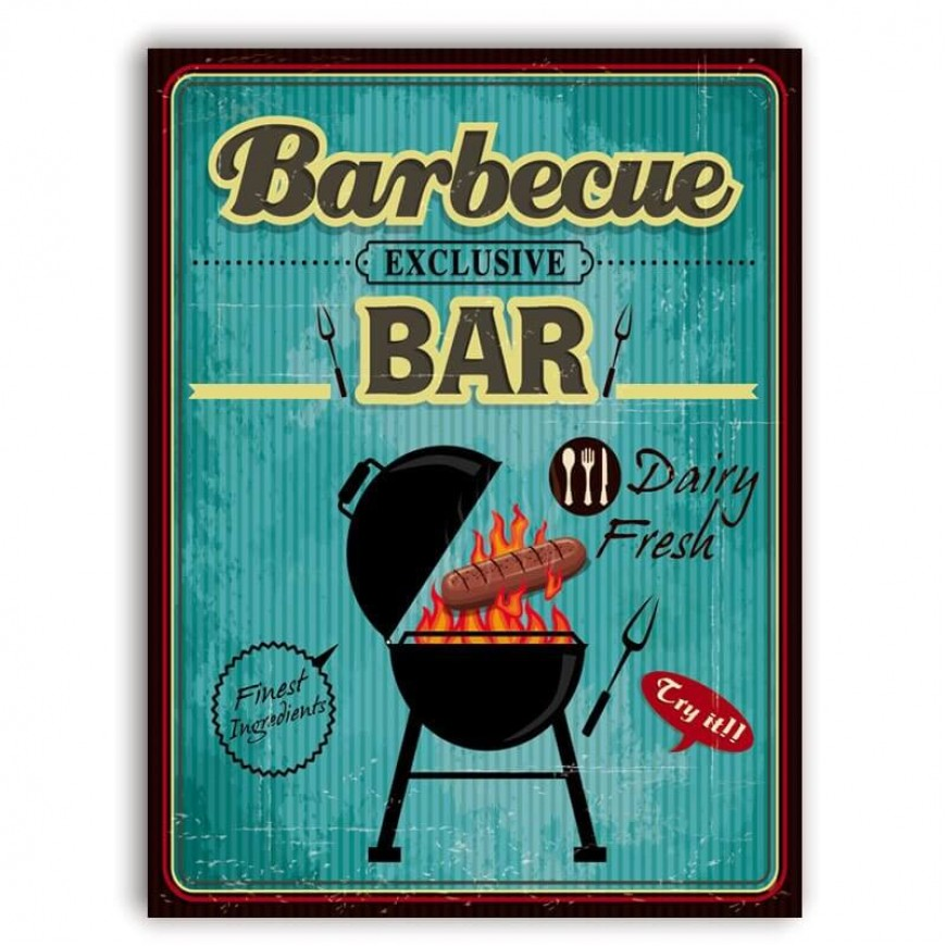 PLACA BARBECUE BAR 30cm x 40cm