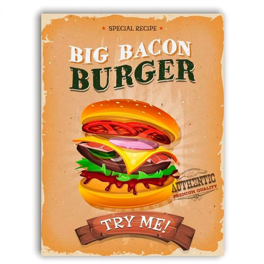 PLACA BIG BACON BURGER 30cm x 40cm