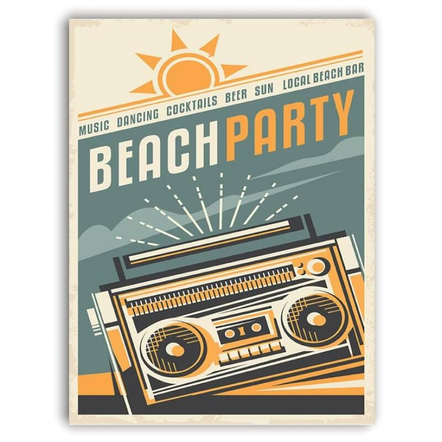 PLACA BEACH PARTY 30cm x 40cm